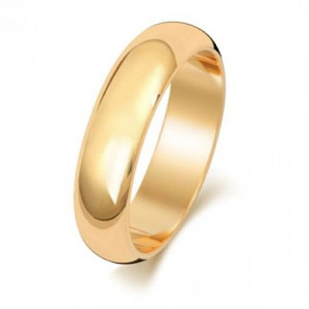 Yellow GOLD WEDDING RING 9K D SHAPE 5 MM, W105M